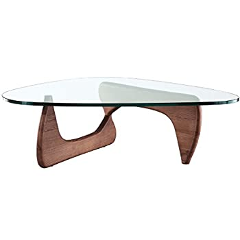 EMODERN FURNITURE eMod - Noguchi Triangle Coffee Table Glass Top Walnut
