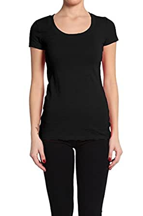 Short Sleeve Scoop Neck Tee T Shirt Cotton Top (Small, Black)