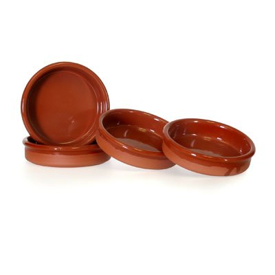 Set of 4 Rustic Cazuela Clay Pans - 4.5 inch/ 12 cm