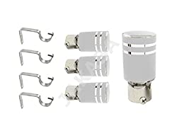 JAKABA Silver Stainless Steel and Alloy Curtain Finials with Supports - PACK of 8 Pcs.