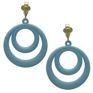 Amiela Gold Baby Blue Clip On Earrings