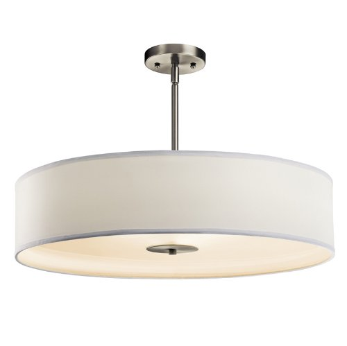 Kichler Lighting 42122NI Crystal Persuasion 3-Light Convertible Fixture, Brushed Nickel Finish with White Fabric Shade and White Diffuser