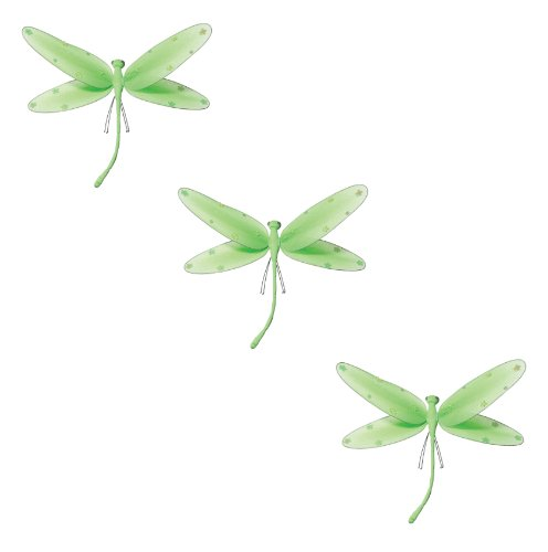 Hanging Dragonfly Green Nylon Dragonflies With Sequins And Glitter For Baby Nursery Bedroom Décor, Girls Room Ceiling Wall Décor, Wedding Birthday Party, Baby Bridal Shower Decoration
