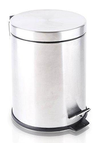 BINO Stainless Steel 1.3 Gallon / 5 Liter Round Step Trash Can, Brushed Steel (Stainless Steel Trash Can 5 Liter compare prices)