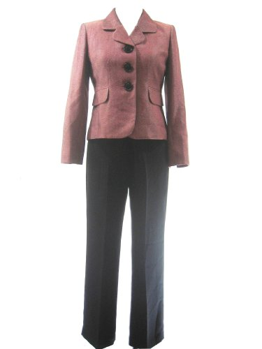 LE SUIT Ultra Chic Textured Jacket/Pant Suit-FLAME RED/MULTI-4P