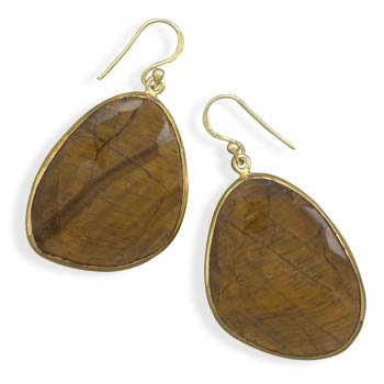 14 Karat Gold Plated Freeform Tiger's Eye Earrings