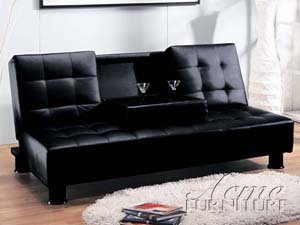 Monticello black leather like vinyl adjustable sofa futon bed with tufted back and fold down center armrest with cup holders