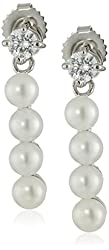 Sterling Silver 4-5mm White Button Freshwater Cultured Pearl and Swarovski Zirconia Bar Drop Earrings