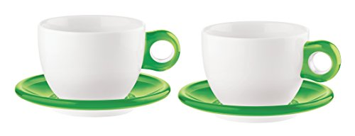 Guzzini Art & Café Acid Green Espresso Cups with Saucers and Teaspoons; Set of 2