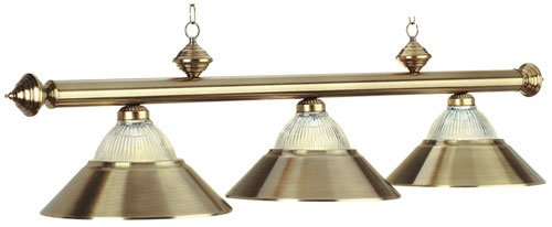 Metallic With Halophane Glass Antique Brass Pool Table Light
