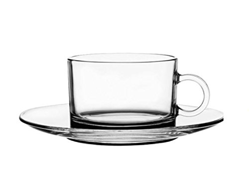 Premium Collection Clear Glass Espresso Shot Cups With Matching Saucers, Set Of 6