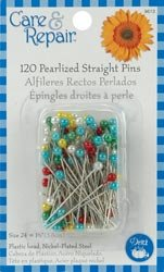 Dritz Pearlized Straight Pins Size 24 120/Pkg Assorted Colors 9613D; 6 Items/Order