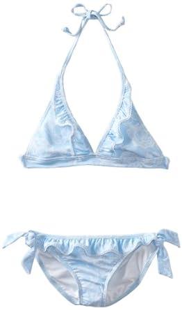 Seafolly Big Girls'  70's Halter Bikini Swimsuit, Ballet Blue, 8