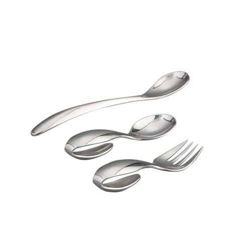 Nambe Baby Nambe Loop Spoon, Fork and Feeding Spoon 3-Piece Set