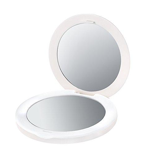 PLEMO LED化粧鏡 女優ミラー 調光型二面鏡 USB充電 2倍拡大鏡付き 丸型 コンパクトミラー (ホワイト) BE-005