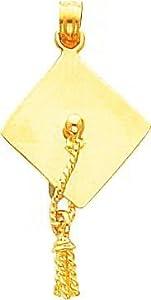 14K Yellow Gold 3D Graduation Cap Charm Grad Pendant