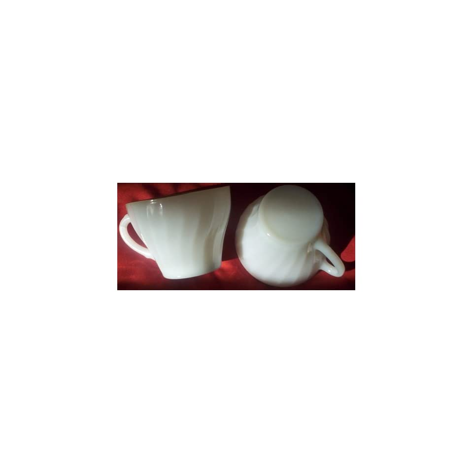 Fire King Anchor Hocking Golden Shell White Cup Set of 2