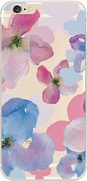 iPhone 6 / 6S Case, DECO FAIRY® Case Bumper Ultra Slim Translucent Silicone Clear Case Gel Cover for Apple (watercolor blue purple flower)