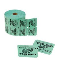 Ticket Rolls - 1000 2-part Tickets - Green (Two Part Raffle Tickets compare prices)