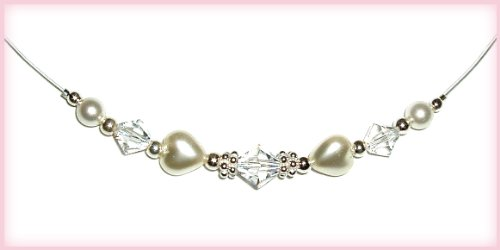 Sterling Silver LDS Baptism Necklace for Girls with Pearl Hearts (13 inch)