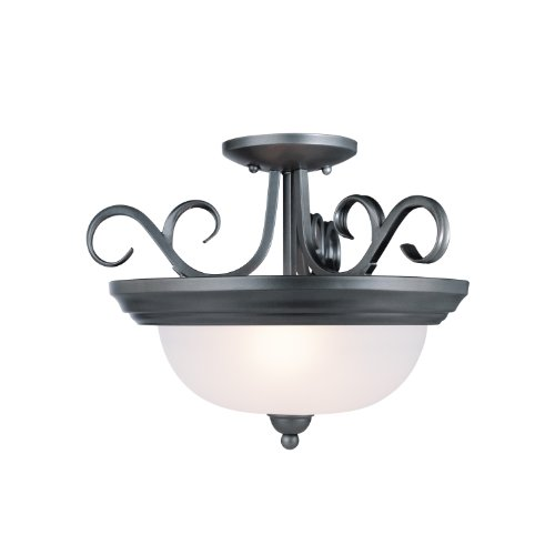 Westinghouse 6625400 Two-Light Semi-Flush-Mount Interior Ceiling Fixture, Iron Granite Finish With Frosted Glass