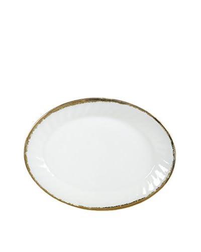 1960s Oval Platter, White/Gold