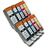 WANTMOREINK 10x Canon CLI8 / PGI5 WITH CHIP - Multipack Set of 10 Canon Compatible Printer Ink Cartridges for Canon Pixma MP500 MP530 MP600 MP600R MP610 MP800 MP800R MP810 MP830 iP4200 iP4300 iP4500 iP5200 iP5200R iP5300 Printer Inks - CLI-8 / PGI-5 (Con