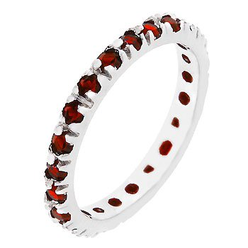 White Gold Rhodium Bonded Eternity Ring with Channel Set Ruby Red Cz in Silvertone Women Jewelry (7)