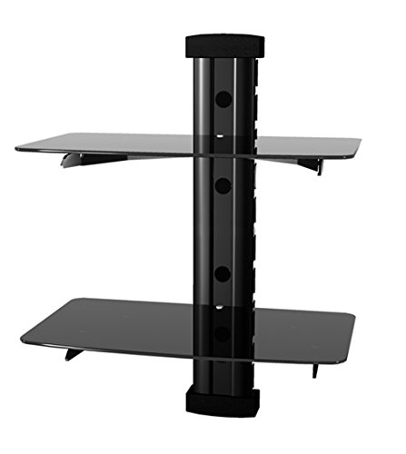 Generic 2 Tier Dual Glass Shelf Wall Mount Bracket Under TV