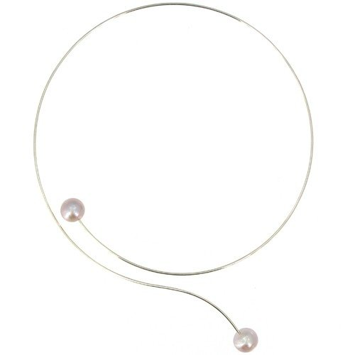 Les Poulettes Jewels - Pearl and Silver Choker Necklace with 2 Pink Round 11 mm Freshwater Pearls