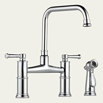 Brizo 62525LF-PN Polished Nickel Artesso Two Handle Bridge Kitchen Faucet With Spray