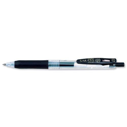 Zebra Sarasa Rollerball Gel Ink Pen With Clip Medium Black Ref 14321 [Pack 12]