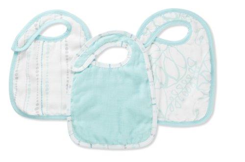 aden + anais silky soft snap bib 3 pack, azure
