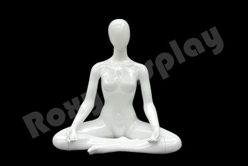 (MD-YOGA01W) ROXY DISPLAY Female Yoga mannequin, Seated in OM. Pearl White color