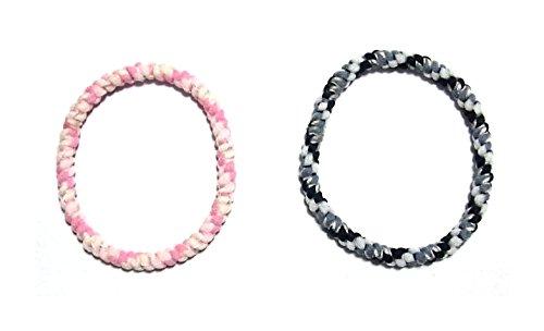 アクセサリー 静電気 軽減 除去 おしゃれ ヘアゴム セット ブレスレット としても かわいい 黒 & ピンク ミサンガ 風