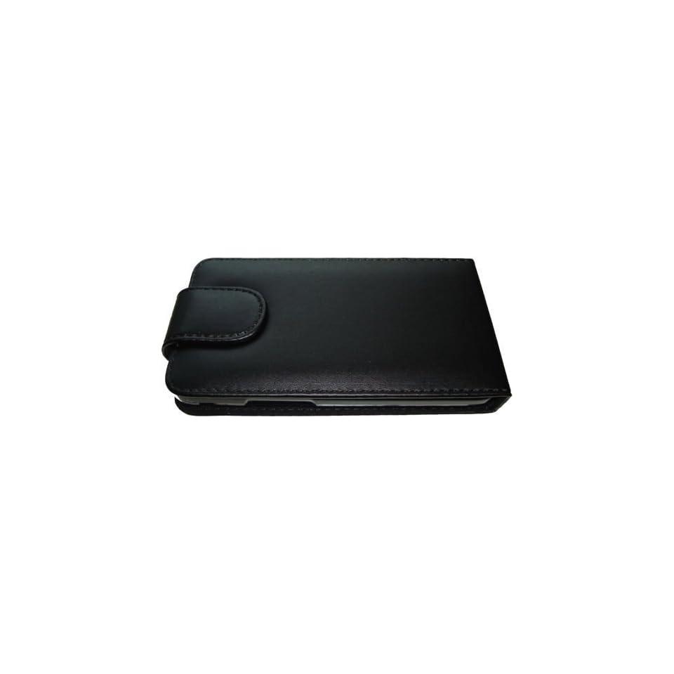 Negra Funda de Cuero para LG E400 Optimus L3   Flip Case Cover + 2