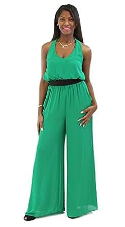 Com xoxo juniors solid v neck jumpsuit emerald green m clothing