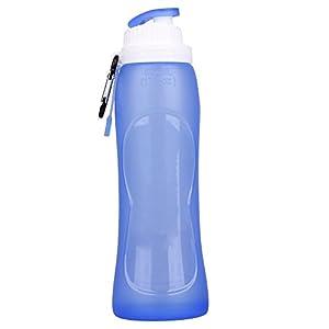 MAGINOVO Silicone Folding Bottle Sport Travel Collapsoble Water Bottles, 17 fl. OZ 500ml BPA Free