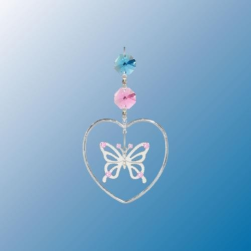 Hanging Sun Catcher or Ornament..... Butterfly In Heart With Swarovski Austrian Crystals