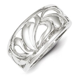 Genuine IceCarats Designer Jewelry Gift Sterling Silver Leaf Design Ring Size 8.00