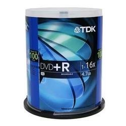 DVD+R Discs, 4.7GB, 16x, Spindle, 100/Pack, Sold as 1 Packag