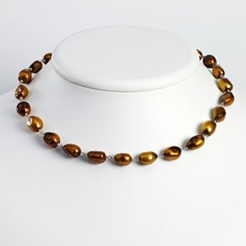Sterling Silver Golden Cultured Pearl Necklace - QH2828-16