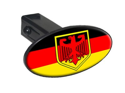"German Flag And Crest - 1 1/4 inch (1.25"") Tow Trailer Hitch Cover Plug Insert"