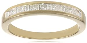 14k Yellow Gold Princess and Baguette Diamond Anniversary Band (1/4 cttw, IJ Color, I1-I2 Clarity), Size 6