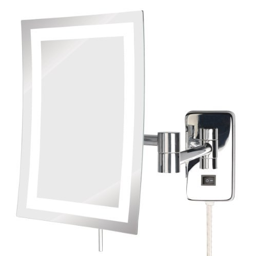 Jerdon Jrt710Cld 6.5-Inch By 9-Inch Led Lighted Wall Mount Rectangular Direct Wire Makeup Mirror, Chrome Finish