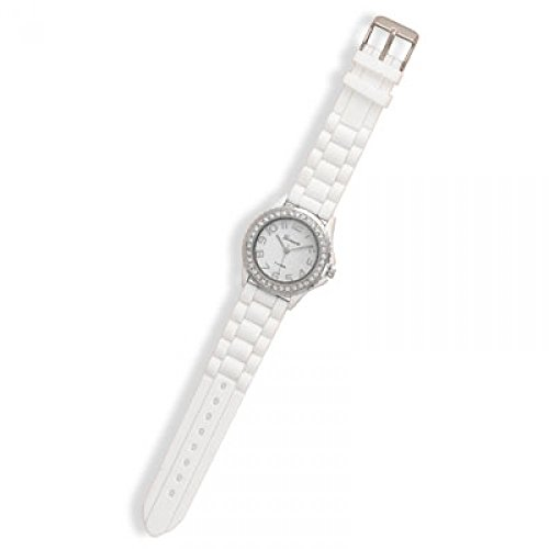 White Rubber Fashion Watch With Round Face