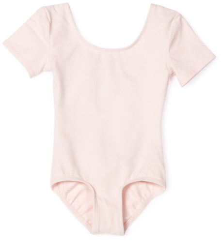 Danskin Little Girls' Short Sleeve Leotard, Theatrical Pink, Intermediate  (6X-7)