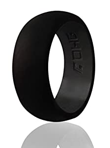 DHG Silicone Wedding Ring Band for Men 8.7mm Wide for an Active Lifestyle Sports and Activity - Made From Premium Quality Non Toxic Medical Grade Silicone (Black, 11)