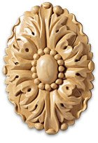 White River # CM2377-MA, Small Oval Rosette, 2 pcs., 2-3/4 inch W x 5/8 inch D x 4 inch H, Maple