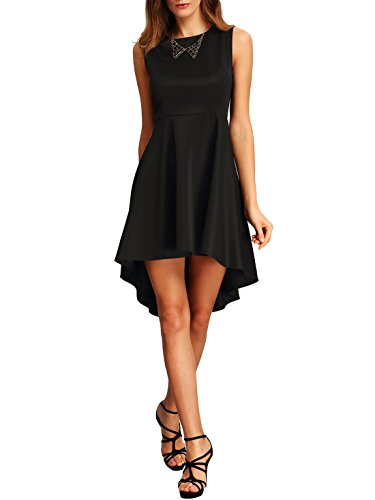 ROMWE Women's Fit And Flare Sleevless Dress High Low Elegant Swing Dresses Black S